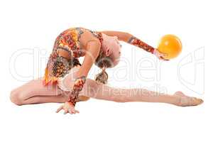 Art gymnastics. Flexible girl performing with ball