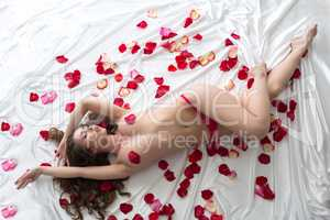 Top view of tempting beauty in bed with petals