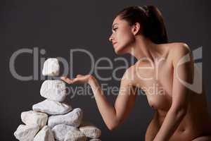 Concept of self-discovery. Woman has telekinesis