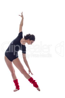 Studio shot of contemporary dancer warming up