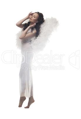 Wonderful girl-angel, isolated on white backdrop