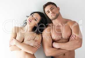 Photo of naked people - sexy girl and muscular guy