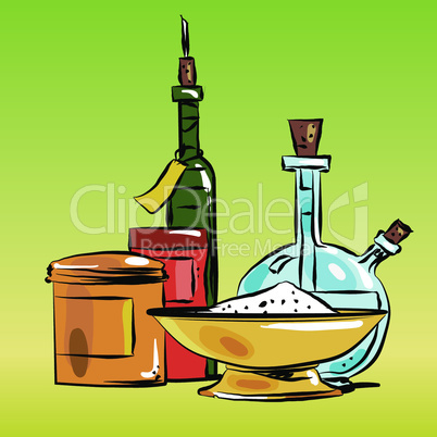 Condiments cooking oil and salt