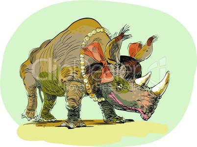 Rhino girl character animal