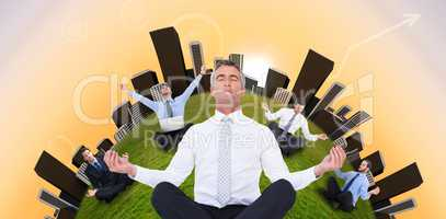 Composite image of zen businessman meditating in lotus pose