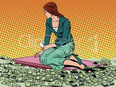 businesswoman mermaid sitting on money