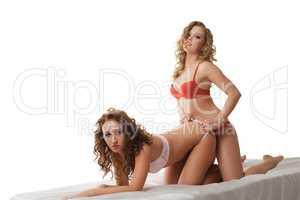 Beautiful lesbian girls having sex at camera