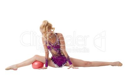 Artistic gymnastics performance with ball