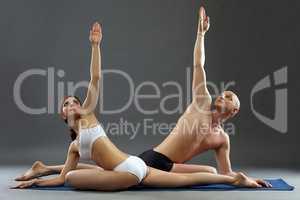 Harmonious figure of people engaged in yoga