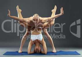 Complex composition of yogis. Studio snapshot