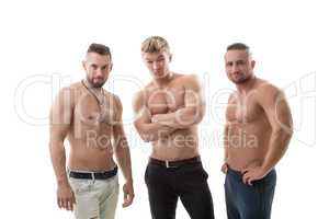 Shot of flirting male models posing at camera