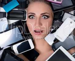 Technology progress. Portrait of surprised woman