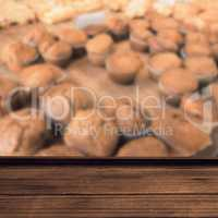 Composite image of high angle view of wooden flooring