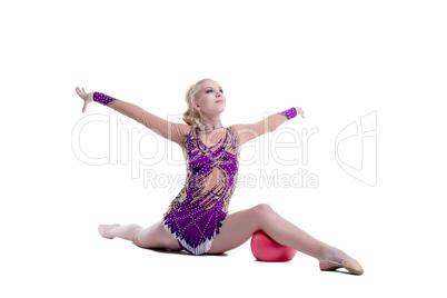 Free callisthenics. Adorable gymnast with ball