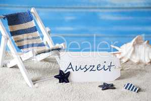 Summer Holiday Label With Deck Chair, Auszeit Mean Downtime