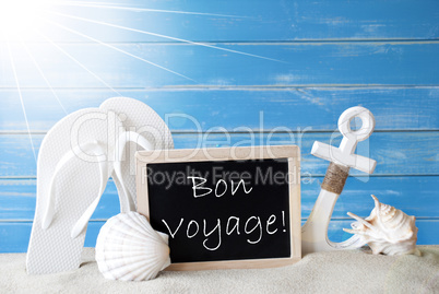 Sunny Summer Card With Bon Voyage Means Good Trip