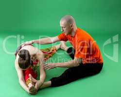 Joint yoga workout with experienced trainer