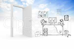 Doodle office in clouds with door