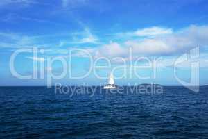 Sailboat in sea. Beautiful seascape, Thailand