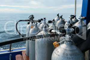 Image of oxygen cylinders for diving, close-up