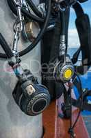 Close-up of equipment for scuba diving