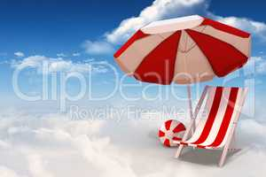 Composite image of image of sun lounger and sunshade