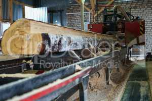 Woodworking shop. Image of log on machine
