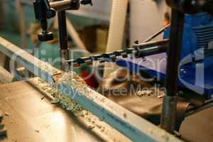 Woodworking. Image of drill machine, close-up
