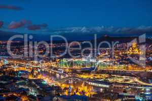 Night view of European metropolis - Tbilisi