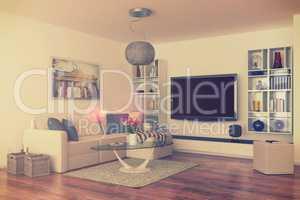 3d - luxury modern loft apartment - retro style - shot 43