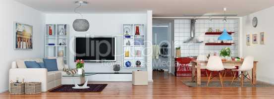 3d - luxury modern loft apartment - panorama - shot 01