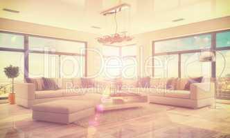 3d - luxury modern loft apartment - retro style - shot 45