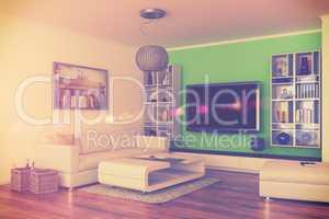 3d - luxury modern loft apartment - retro style - shot 44