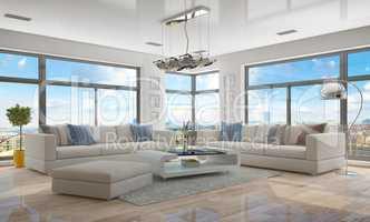 3d - luxury modern loft apartment - shot 45