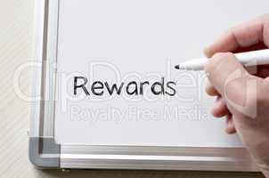Rewards written on whiteboard