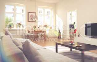 apartment - living room - vintage look