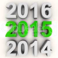 Render of the new year 2015 in green