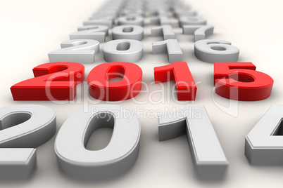 Render of the new year 2015 in red