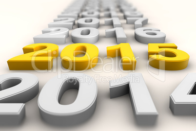 Render of the new year 2015 in yellow
