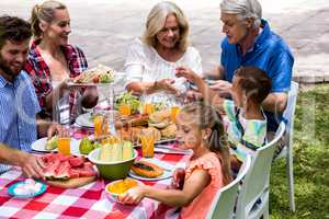 Happy family having lunch at lawn