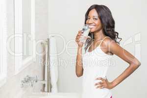 Beautiful woman having medicine