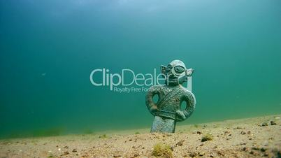 Ancient sculpture under water, Siberia, Russia, Eurasia