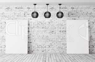 Room with lamps and posters background 3d rendering