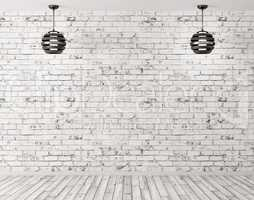 Two lamps against of brick wall interior background 3d render