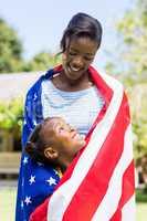 Happy family wearing usa flag