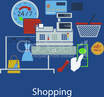 Shopping flat design