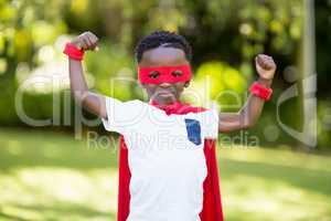 Young child is dressing up as a hero