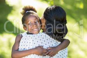 A daughter having hug