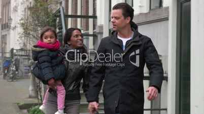 Family Happy Father Mother Dad Mom Baby Child Daughter Walking