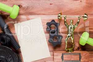 Figure weightlifter dumbbells